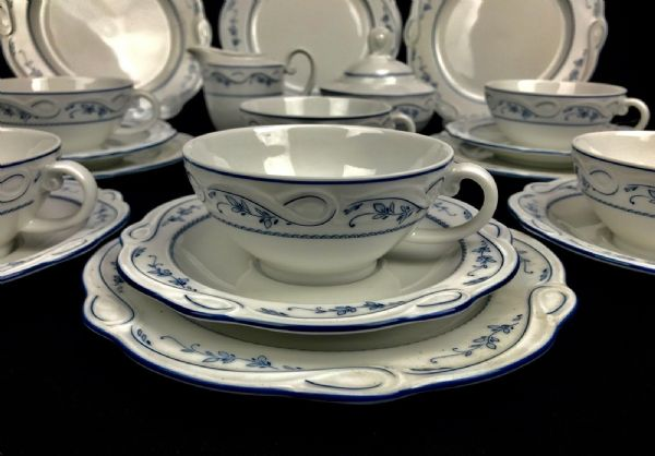 Vintage German Coffee / Tea Set - Seltmann Weiden Bavaria - Blue & White Flowers